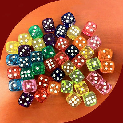 5Pc Random Color Set TRPG/Dungeons/Bunco Toys Games Six Sided Acrylic Dices New