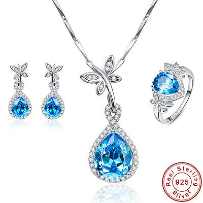 Free Box Swiss Blue Topaz Ring+Necklace+Earrings 925 Sterling Silver JewelrySets