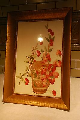 "SPECTACULAR! Antique Original Framed USA Embroidery Silk STRAWBER Art 24""X16.5"""