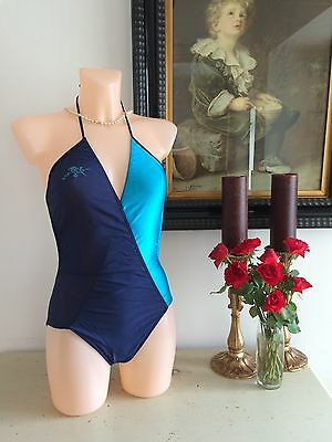 VINTAGE 70s TWO TONE CROSS OVER SWIMMING COSTUME SUMMER RETRO PINUP BOMBSHELL