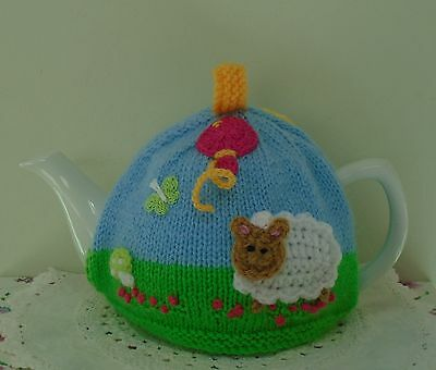 Hand Knitted Fun Tea Cosy For A Medium Teapot Sheep Butterfly And Balloon