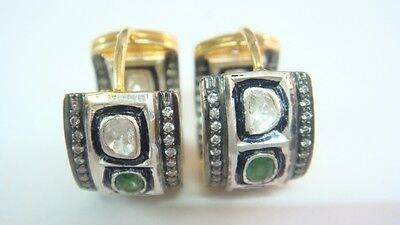 .30 cts Rosecut Diamond & Emerald  Victorian Hoop Earrings With 92.5%Silver