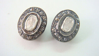 .30cts Victorian Inspired  Rosecut Diamond  Oval Stud Earrings with 92.5% Silver