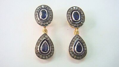 .45Cts Rosecut Diamonds & Blue  Sapphire Victorian  Earring With 92.5% Silver