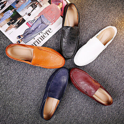 Men's Sneakers PU Leather Slip on Flat Driving Loafer Shoes Casual Comfort New