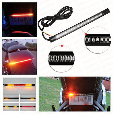 Universal 48-SMD/LED Flexible Motorcycle Stop Turn Signal Strip Light Red/Amber