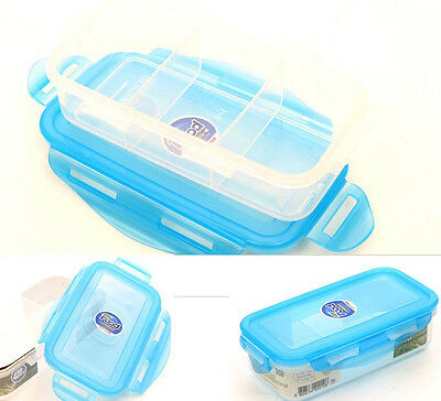 Clear Lunch Container Bento Food Box 3-Splitter Divided Keeper Airtight Storage