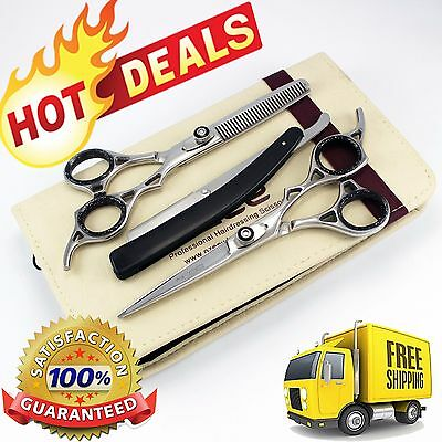 """6"""" Professional Hairdressing Hair Cutting & Thinning Scissors Shears Set + Case"""