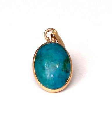 Eilat Stone Pendant- green chrysocolla malachite gemstone set in 14K gold