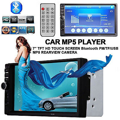 """7"""" Autoradio Bluetooth Stereo 2DIN Touchscreen MP3 MP5 Player AUX In USB TF FM"""