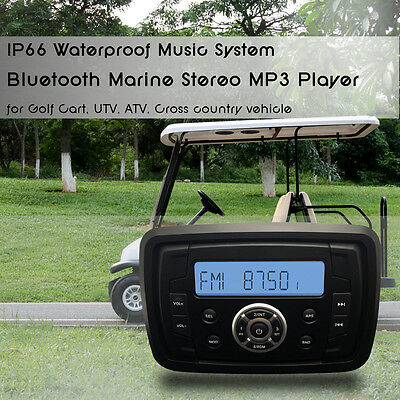 Marine Bluetooth Audio Stereo MP3 AM/FM Receiver Motorcycle Powered Golf Car SPA