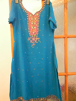turquoise coloured indian suit.
