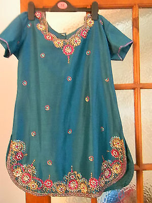 Teal coloured indian suit with colourful sequins