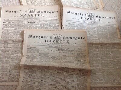 Keble's Gazette Margate Ramsgate Broadstairs Local Paper 1870s Adverts  Local