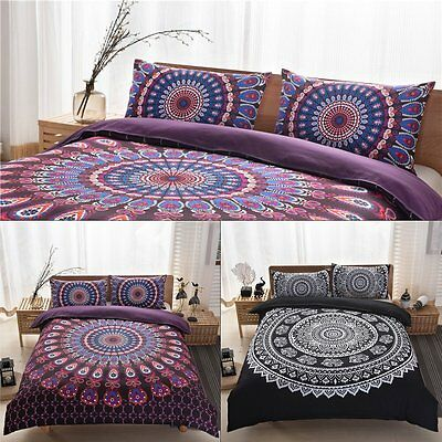 Indian Elephant Peacock Mandala Queen Bedding Duvet Quilt Cover Pillowcase Set