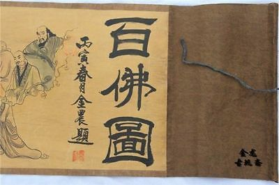 Chinese Ancient picture silk paper 100 Buddha Figure Scroll painting
