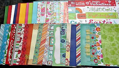 SEASONS/HOLIDAY Theme - 12x12 Scrapbook/Craft Cardstock Paper - Set of 45 Sheets
