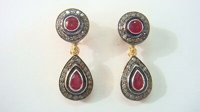 .41Cts Rosecut Diamonds & Ruby  Victorian Inspired Earring With 92.5% Silver