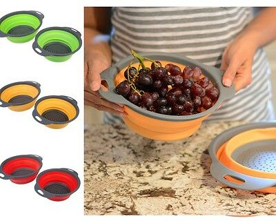 2 Size Cups/Set Collapsible Kitchen Filter Baskets Silicone Colander Strainers