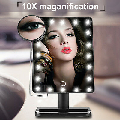 20 LED Light Touch Screen Make-up Mirror Cosmetic Stand Mirror 10X Magnifying