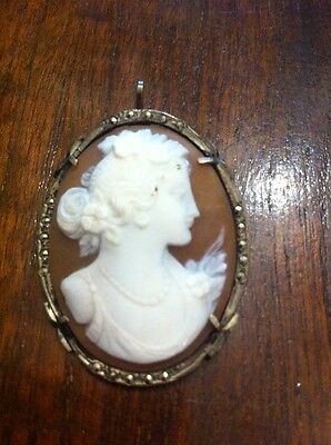 Vintage Silver Marcasite Cameo Brooch/ Pendant 925 Marked