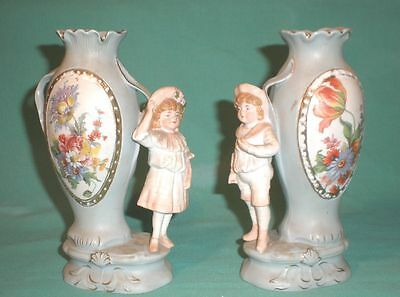 antique pair of vases with boy and girl antique/ bisque/German