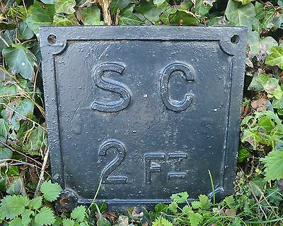 Large Vintage Cast Iron Sign S.G 2Ft Industrial