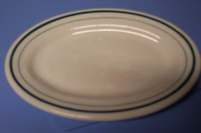 Shenango China, New Castle PA -- oval dish with green stripes