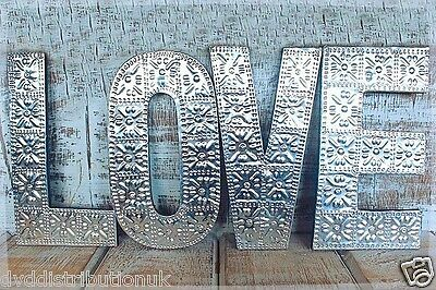 "Large Arty Aluminum & Wood  Letters ""love"" Wall Hanging Gift Wedding Home 15 Cm"