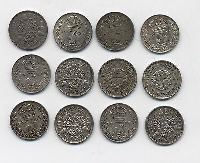 George V & VI Silver Threepence Coins***Collectors***(GT12)