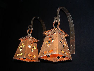 Vintage French Arts and Craft copper and wrought iron sconces 4 pairs available