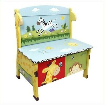 Fantasy Fields Hand Carved Sunny Safari Storage Bench