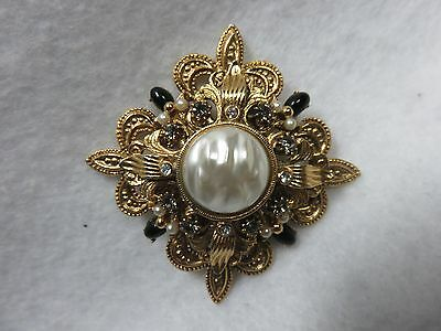 Vtg Faux Baroque Pearl Maltese Cross Type Brooch With Rhinestones And Cab Onyx
