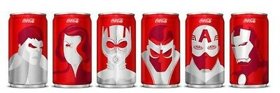 FIRST EDITION Coca-Cola Mini Can MARVEL Superheroes 6-Pack NEW Complete Set Coke