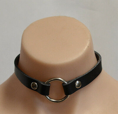 HANDCRAFTED GENUINE Leather Collar Heavy Duty Ring - AUSTRALIAN MADE COL2BLK