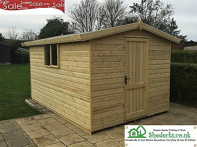 12x8 Apex Wooden Garden Shed Tanalised 16mm T&G Heavy Duty Tanalised