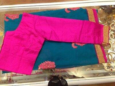 Blue Saree with Pink and Gold border (with blouse)