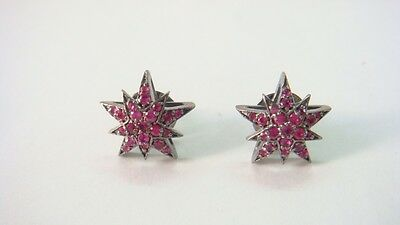 .55Cts  Faceted Ruby Victorian Inspired  Star Stud Earring With 92.5% Silver
