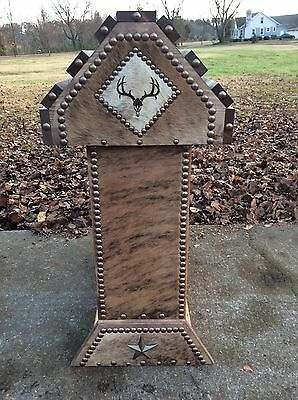Saddle Stand / Deer Head / Brindle Cowhide / Western Decor / Made In The Usa