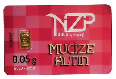 0.05 Gram Solid 24K 995 Pure Gold Bullion with Serial Number Sealed NZP 2015 Bar