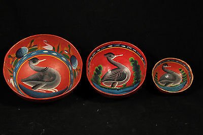 Antique Mexican Gourds (3) Folk Art Hand Painted Museum Quality Collectible