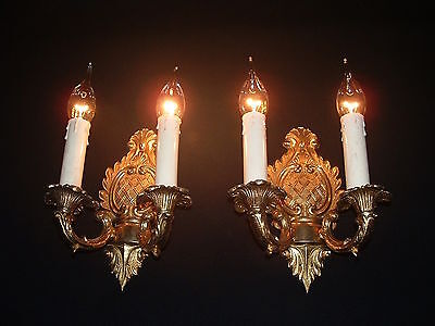 Vintage French Brass Empire style leave design back plate sconces
