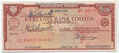 1960's UK £10 Travellers Cheque***Collectors***