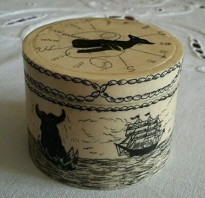 """Scrimshaw sailors Whale Spearing Ships Compass ditty box 2.25"""" x 1.75"""""""