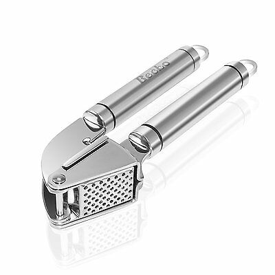 Becko Stainless Steel Garlic Press Solid Ginger Crusher with Cleaning Brush