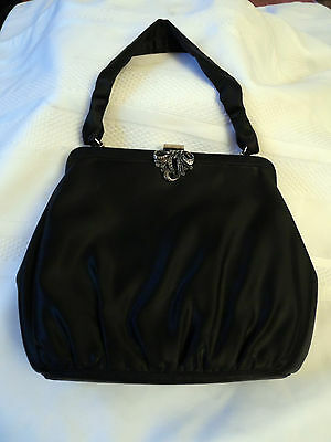 Stunning Black Satin Evening Bag W/ Marcasite Clip-Perfect For Special Occasions