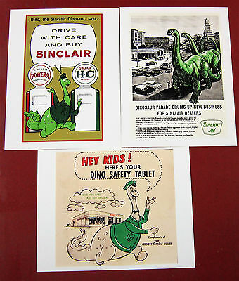 Sincir Oil Dinosaur--3 old print ads from Sinclar Dinosaur