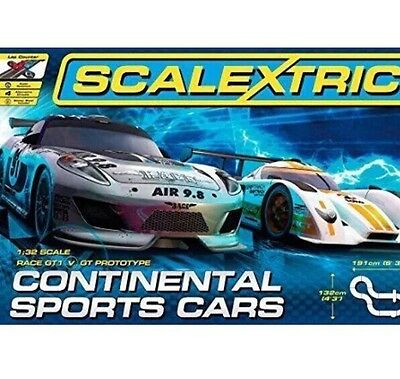 NEW!Scalextric 1 32 Scale Continental Sports Cars Race Set - with 2 cars