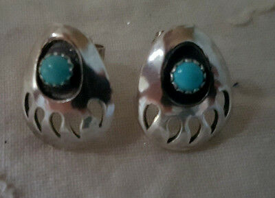 New! Genuine Navajo Native American Silver & Turquoise Bear Paw Stud Earrings