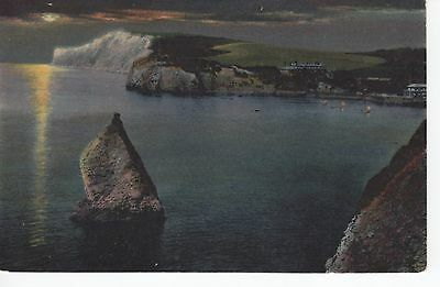 (ar75) Wight Freshwater Bay The Stag Rock at Night Levy LL PC